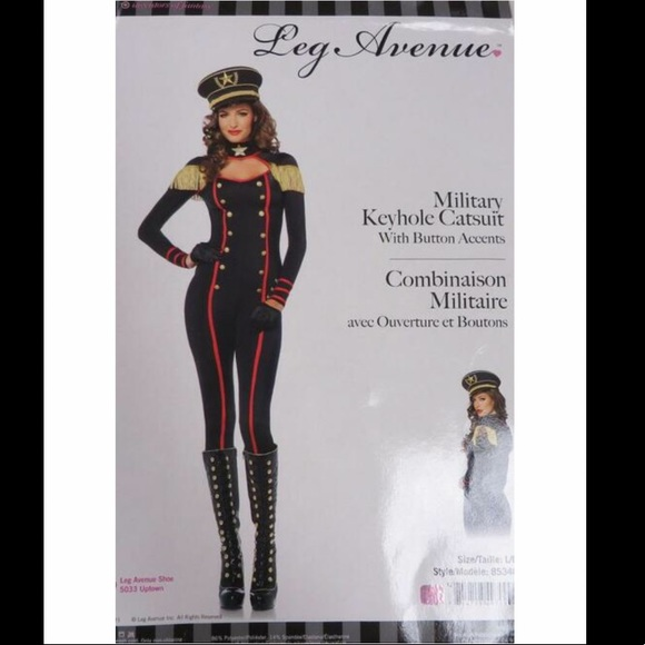 Military Keyhole Catsuit w/ Button Accents